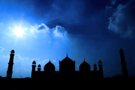 Night view of bad-shah i mosque in Pakistan