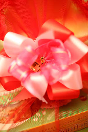 gift wrapped: Gift wrapped in red Stock Photo