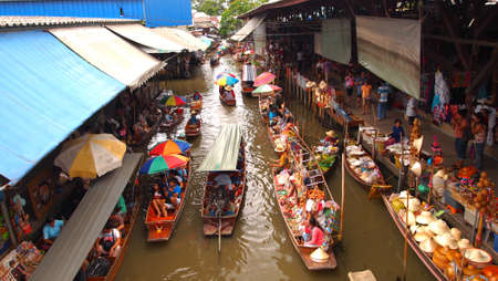 floating market: Thailand, Bangkok, wooden Thai boats at the Floating Market