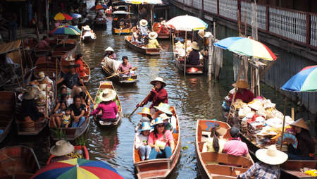 Damnean Saduak Floating Market Thailand Editorial