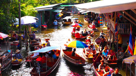 Floating Market in Thailand Thailand, Bangkok, wooden Thai boats at the Floating Market