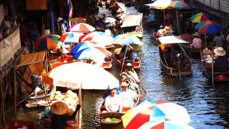 Thailand Floating Market Thailand, Bangkok, wooden Thai boats at the Floating Market