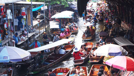 Thailand, Bangkok, wooden Thai boats at the Floating Market