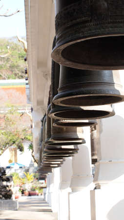 Bells in Buddhism temple, Thailand Stock Photo