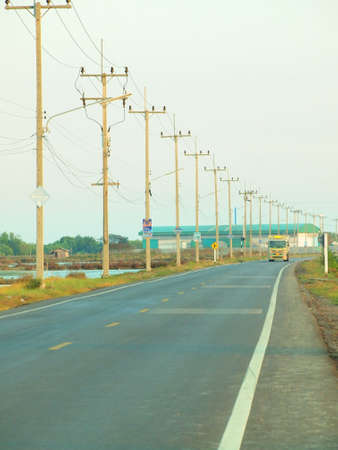 superconductor: Stock Photo- hight voltage construction on road
