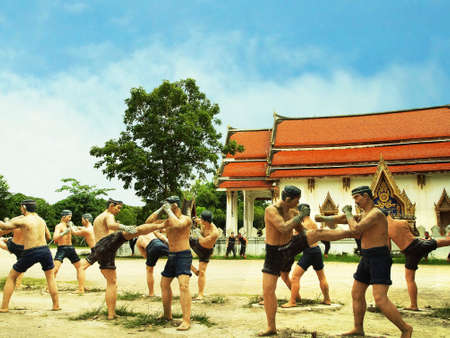ringside: Muay Thai statue in the temple, Thailand