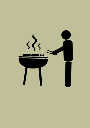 front or back yard: Grilled Barbecue by man Illustration