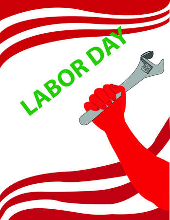 Labor Day Hand Holding Spanner Vector