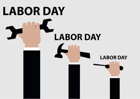 Labor Day 3 Hand Holding Tools Illustration