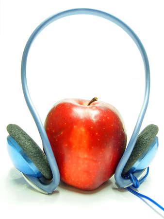 Headphones and Apple Stock Photo