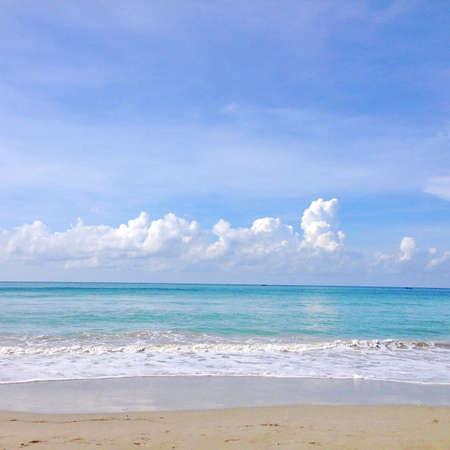ฺBlue Sky Sea Sand Beach Stock Photo
