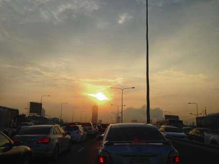 Traffic Jam in Bangkok Thailand View Sunset on cars Editorial