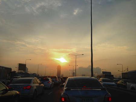 Traffic Jam in Bangkok Thailand View Sunset on cars Editorial
