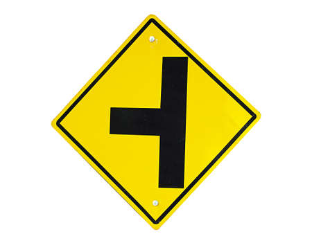 bifurcation: road sign Stock Photo