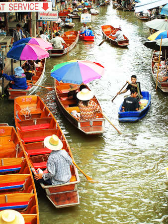 Thailand, Bangkok, Wooden Boats at Damnoen Saduak Floating Market