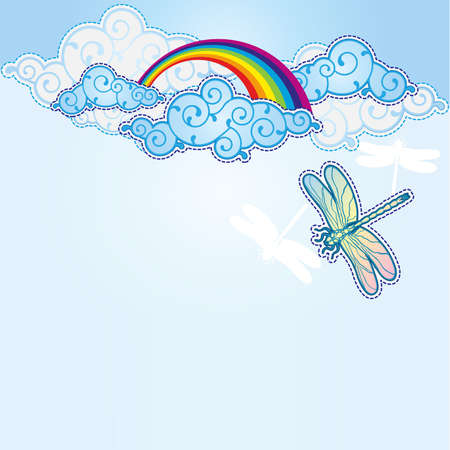 Cartoon style sky background Vector