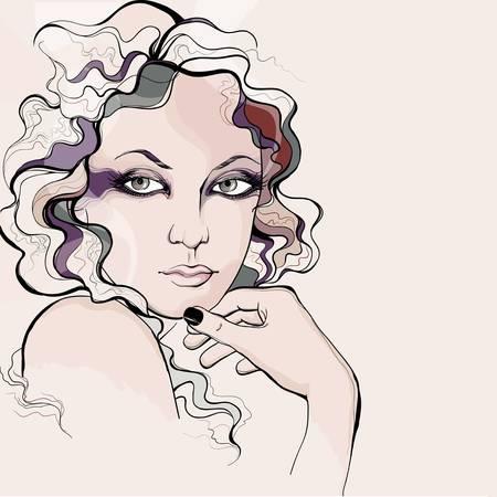 perfil de mujer rostro: Estilo retro retrato de la mujer