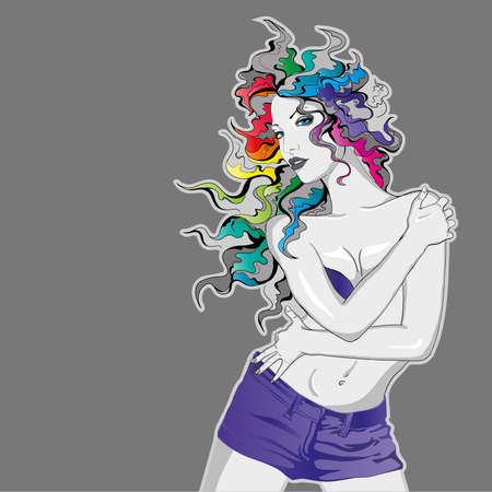 long mouth:  Young lady with rainbow colored hair