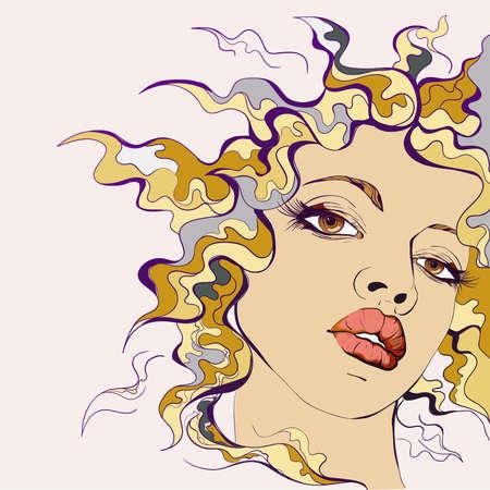 perfil de mujer rostro: Retrato de mujer joven Colorfull