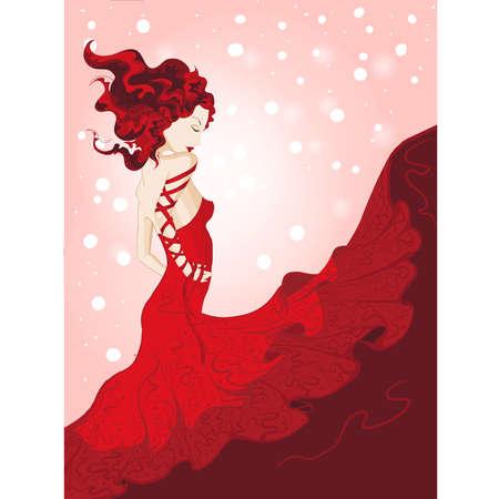 redhead woman: Yong donna in abito rosso sventolando Vettoriali