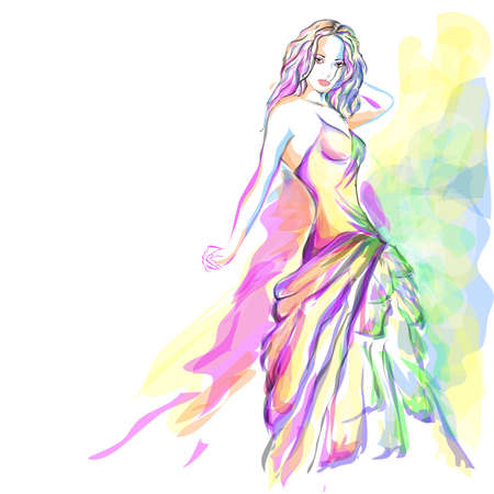 bocetos de personas: Elegante retrato de joven mujer acuarela Vectores