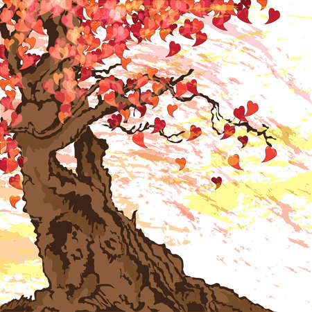 falling in love: Tree with heart shaped leaves Illustration