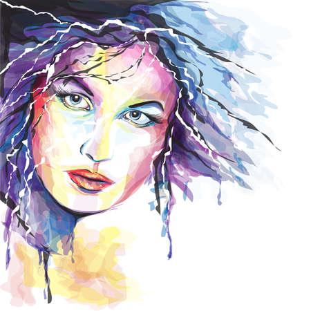 Retrato joven, mujer, Ilustración de vector