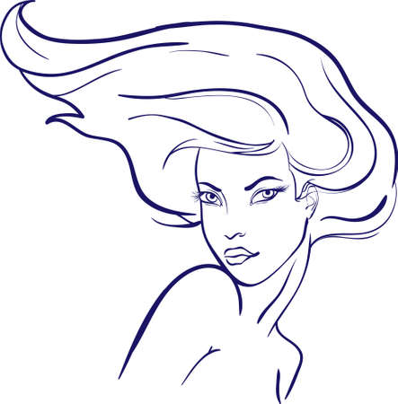 Girl with dismissed hair portrait Vector
