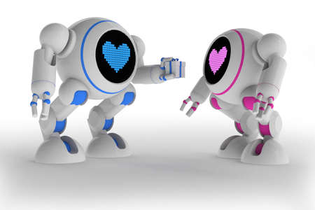 Two robots in love Stock Photo - 14269669
