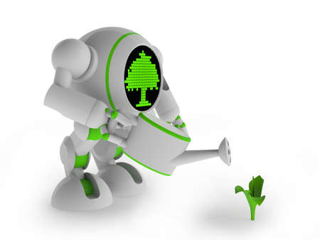 Robot watering sprout Stock Photo - 14269664