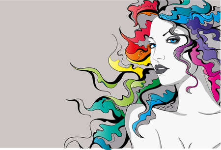 Young lady with rainbow colored hair Illustration