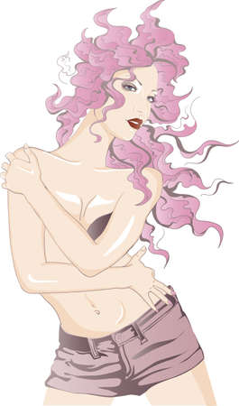Girl with pink hair Vector