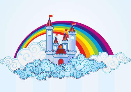 castello fiabesco: Cartoon castello nel cielo
