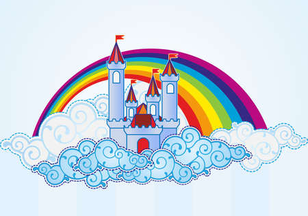 fairytale background: Cartoon castle in the sky