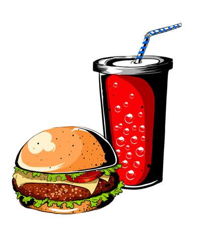 sesame seed: Burger and soda