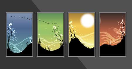 cuatro elementos: Cuatro estaciones banner set