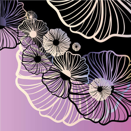 Violet poppy floral ornament Vector