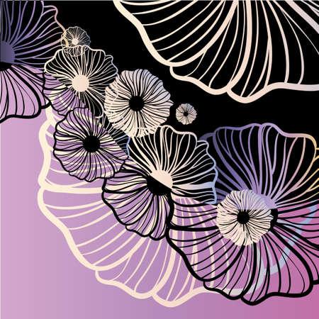 oriente: Violeta ornamento floral de la amapola Vectores