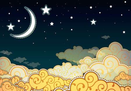 luna caricatura: Estilo de la historieta del cielo nocturno Vectores