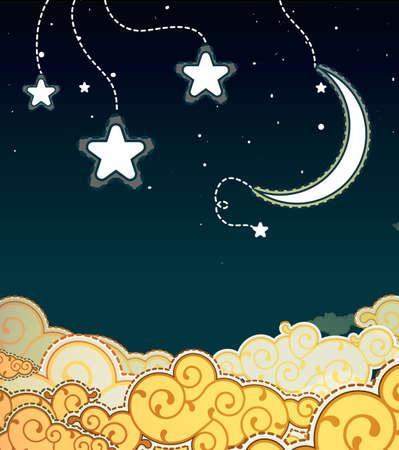 noche y luna: Estilo de la historieta del cielo nocturno Vectores