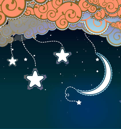 old moon: Cartoon style night sky Illustration