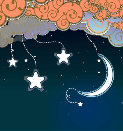 star and crescent: Estilo de la historieta del cielo nocturno Vectores