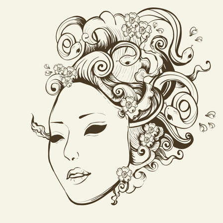 Medusa Gorgon portrait with snake hair Vector