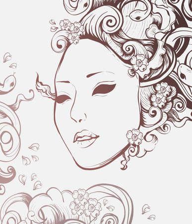 Medusa Gorgon portrait with snake hair