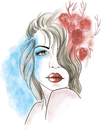 exotic woman: Young latin woman portrait Illustration