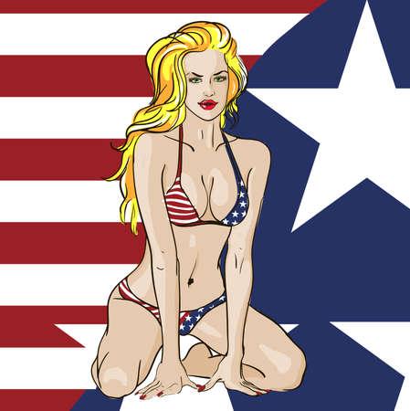 Patriotic Bikini Babe Vector