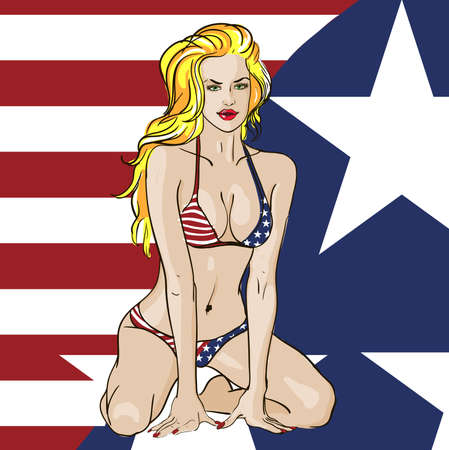 hot rod: Patriotic Bikini Babe Illustration