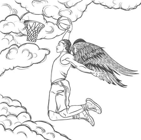 hand baskets: Winged basketball player