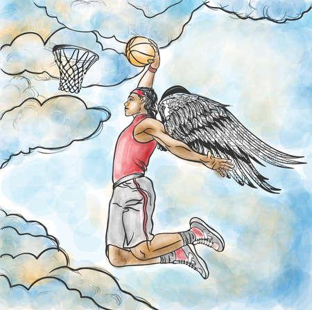 slam dunk: Winged basketball player