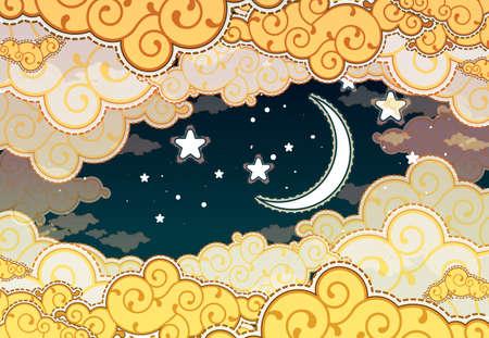 star and crescent: Estilo de la historieta del cielo nocturno con las nubes y la luna